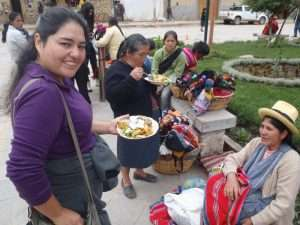 Sampling local food in the Sacred Valley