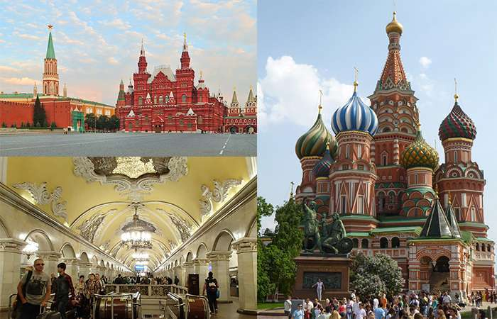 The Kremlin, the interior of the Moscow Metro and St Basil's Cathedral