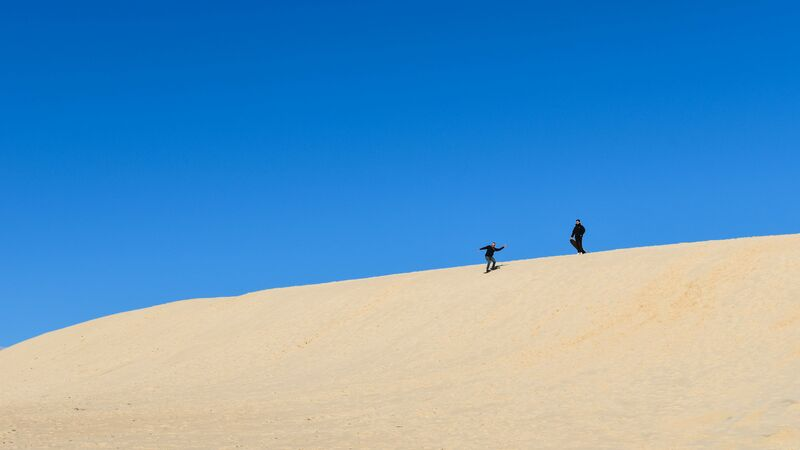 Sandboarding at Little Sahara.